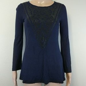 [INC] Embellished detail navy blue long sleeve
